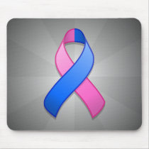 Blue and Pink Awareness Ribbon Mousepad