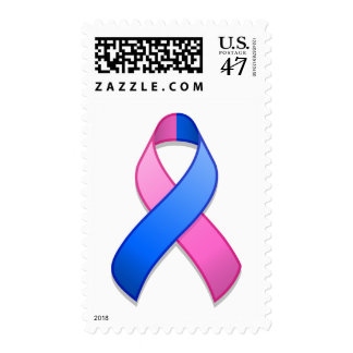 Blue and Pink Awareness Ribbon Postage