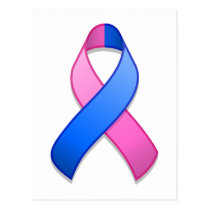 Blue and Pink Awareness Ribbon Postcard