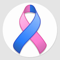 Blue and Pink Awareness Ribbon Round Sticker