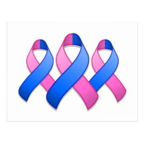 Blue and Pink Awareness Ribbon Trio Postcard