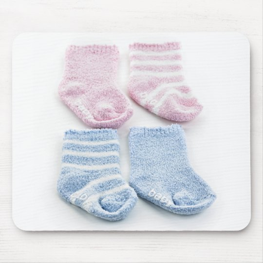 Blue and pink baby socks mouse pad