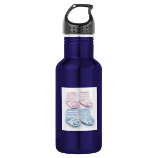 Blue and pink baby socks water bottle