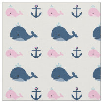 Blue and Pink Baby Whales and Anchors Fabric