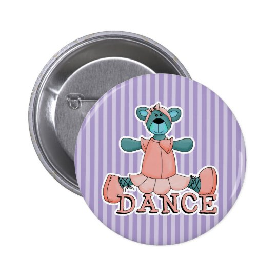 Blue and Pink Ballerina Dance Bear Pinback Button