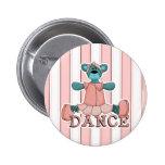 Blue and Pink Ballerina Dance Bear Pinback Buttons