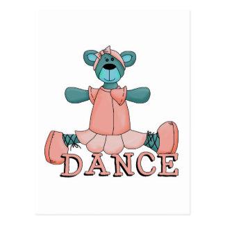 Blue and Pink Ballerina Dance Bear Postcard