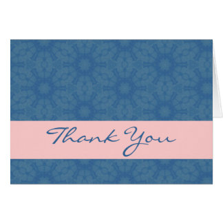 Blue and Pink Big Flowers Elegant Thank You H209 Greeting Cards