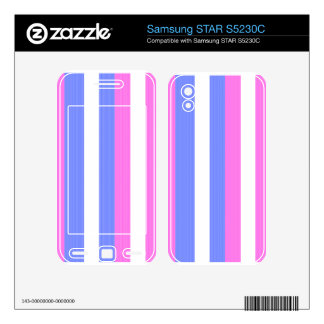 Blue and pink blue and pink stripes on white samsung STAR S5230C decal