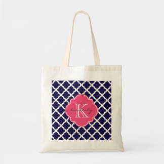 Blue and Pink Blush Moroccan Quatrefoil Monogam Tote Bag