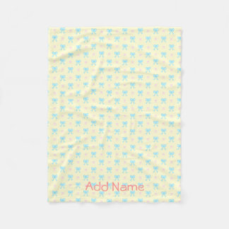 Blue and Pink Bows Pattern Fleece Blanket