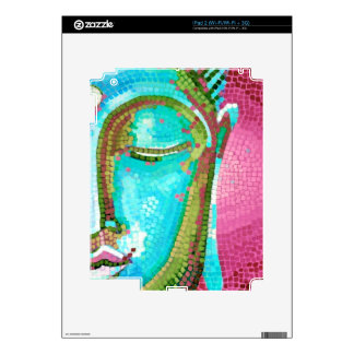 Blue and Pink Buddha Face Mosaic Decals For The iPad 2
