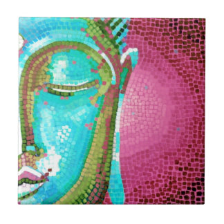 Blue and Pink Buddha Face Mosaic Small Square Tile