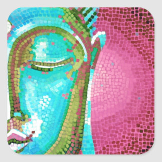 Blue and Pink Buddha Face Mosaic Square Sticker