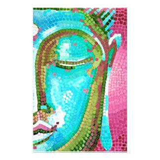Blue and Pink Buddha Face Mosaic Stationery