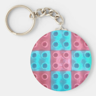 Blue and Pink Building Block Pattern Basic Round Button Keychain