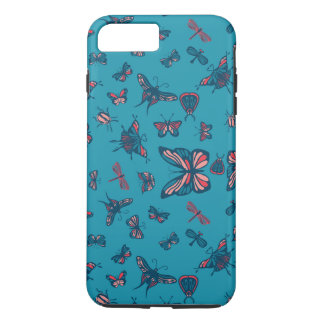 Blue and pink butterflies, dragonflies and beetles iPhone 7 plus case