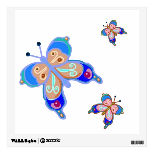 Blue and pink butterflies wall decal