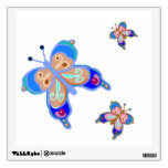 Blue and pink butterflies wall graphics