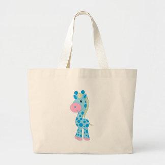 Blue and Pink Cartoon Baby Giraffe Canvas Bags