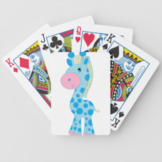 Blue and Pink Cartoon Baby Giraffe Bicycle Playing Cards