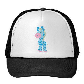 Blue and Pink Cartoon Giraffe Trucker Hat