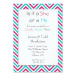 "Blue and Pink Chevron Gender Reveal Invitation 5"" X 7"" Invitation Card"
