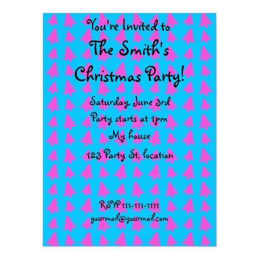 Blue and pink christmas tree pattern 6.5x8.75 paper invitation card