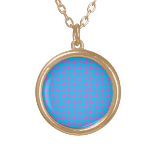 Blue and pink christmas tree pattern round pendant necklace
