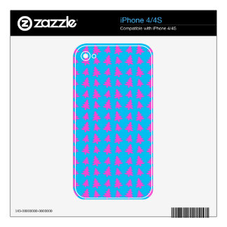 Blue and pink christmas tree pattern skins for the iPhone 4