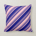 [ Thumbnail: Blue and Pink Colored Lines Pattern Throw Pillow ]