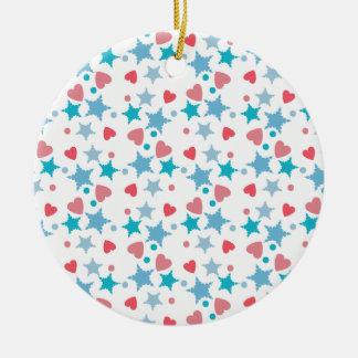 Blue and Pink Confetti Ceramic Ornament