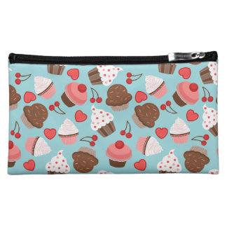 Blue And Pink Cupcakes, Hearts And Cherries Cosmetic Bag
