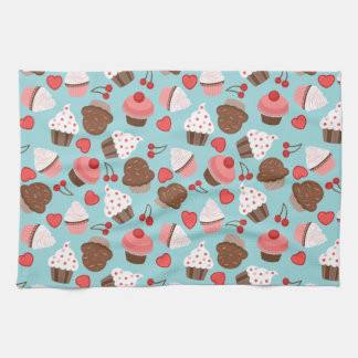 Blue And Pink Cupcakes, Hearts And Cherries Kitchen Towel
