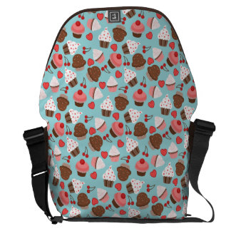 Blue And Pink Cupcakes, Hearts And Cherries Courier Bags