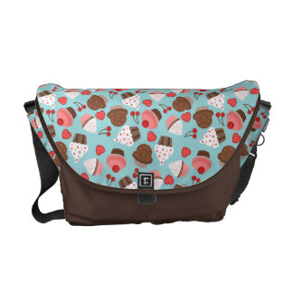 Blue And Pink Cupcakes, Hearts And Cherries Messenger Bag