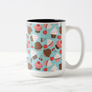 Blue And Pink Cupcakes, Hearts And Cherries Two-Tone Coffee Mug