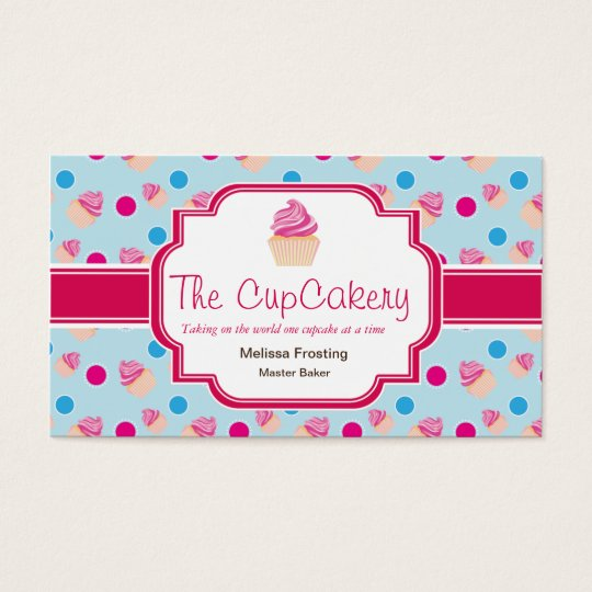 Blue and Pink Cute Cupcake Bakery Business Cards