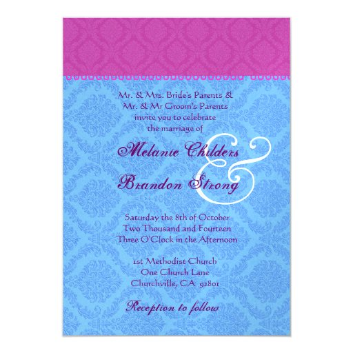 Blue and pink damask wedding template personalized for Damask wedding invitations template free