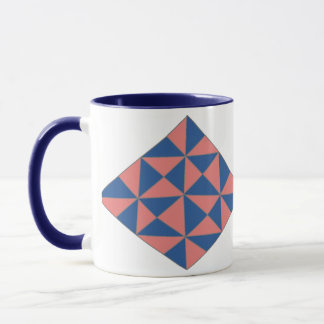 Blue and Pink Diamond Ringer Mug