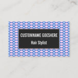 [ Thumbnail: Blue and Pink Diamond Shape Pattern Business Card ]
