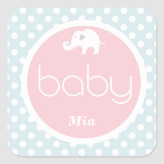 Blue and pink elephant babyshower sticker