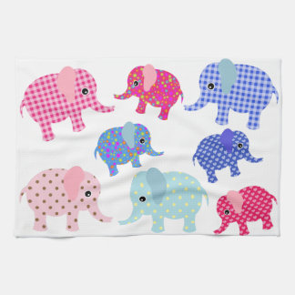 BLUE AND PINK ELEPHANTS Kitchen Towel