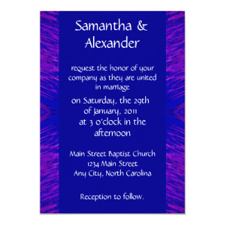 Blue and Pink Explosion - Wedding 5x7 Paper Invitation Card