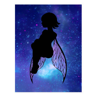 Blue and Pink Fairy Silhouette Postcards