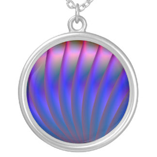 Blue and Pink Fan Necklace