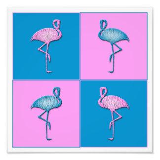 Blue and Pink Flamingos Photo Print