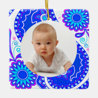 Blue and Pink Floral/Custom Photo Square Ornament