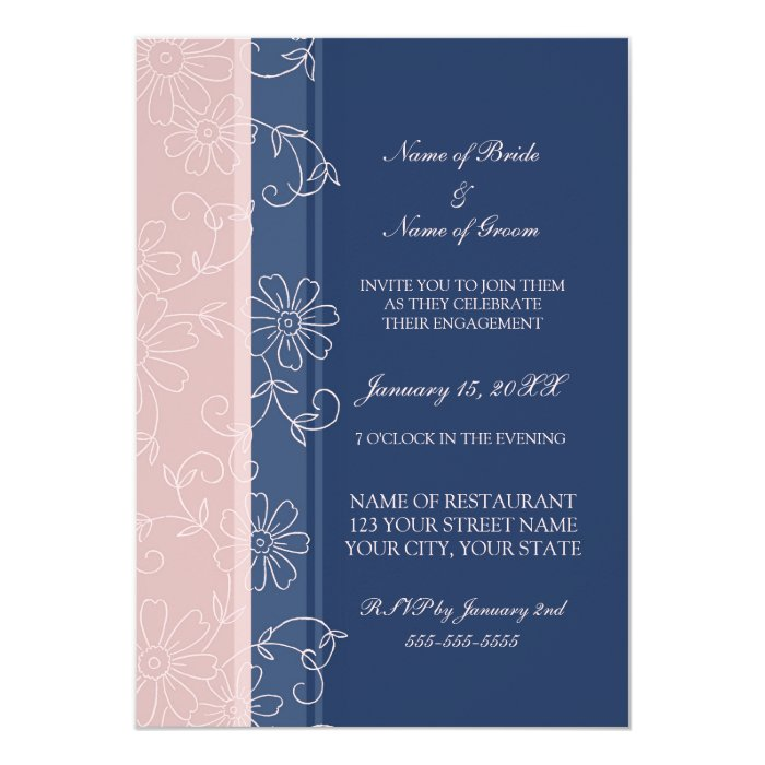 Blue and Pink Floral Engagement Party Invitations