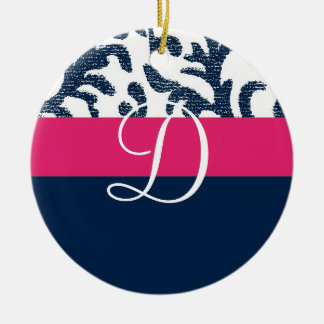 Blue and Pink Floral Monogram Christmas Ornament
